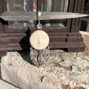 Jewelry - Face Pink Quartz Sterling Silver Pendant